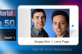 Larry Page (left) and Sergey Brin founded Google, the search engine turned single most important business in Silicon Valley today. The rapidly expanding Google universe now offers dozens of productivity and entertainment tools -- from word processing to video -- most of them free, underwritten by the company's ubiquitous ad-serving system.