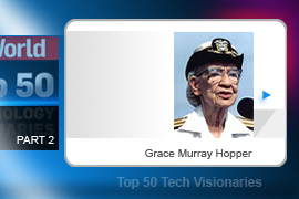 Naval officer Amazing Grace Hopper worked on the team that developed the UNIVAC, the world's first commercial computer, and wrote the compiler software for it (the first such software ever developed). She popularized (and possibly coined) the term bug after a moth was found in a computer relay during her years at Harvard.