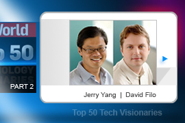 This unassuming twosome got their start in 1994 while still at Stanford, with a truly humble idea: Populate a directory with cool places that they had found on the then-infant World Wide Web. Yahoo was born on a lark but Jerry Yang (left) and David Filo helped it become one of the Web's top destinations.