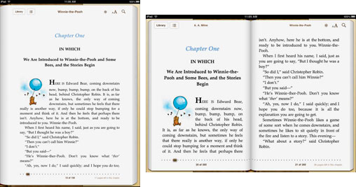 iBooks in portrait and landscape modes