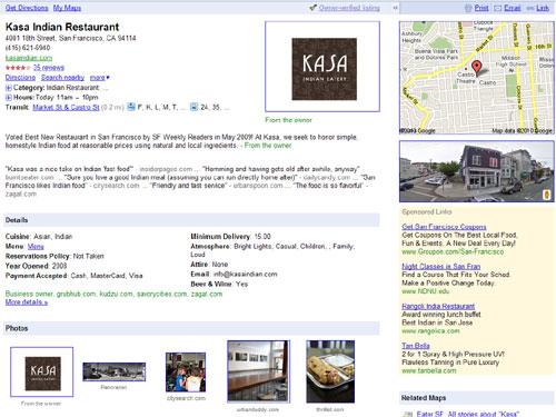 Google Places home