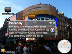 Wikitude World Browser at Piccadilly Street