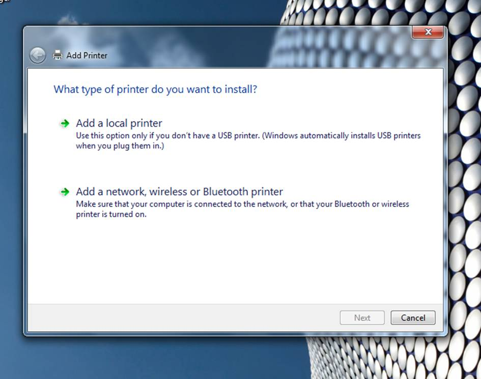 Installing a network printer--click for full-size image.