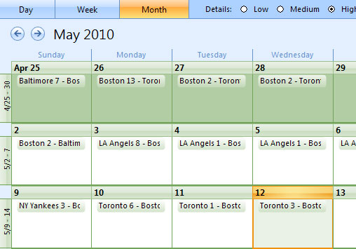Boston Red Sox schedule, imported into Outlook