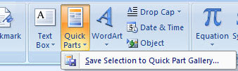 Creating a Quick Part in Outlook 2007