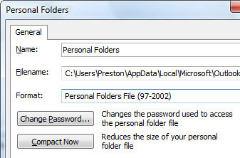 A .pst file in the older Outlook format