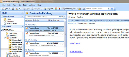 Viewing an RSS feed in Outlook