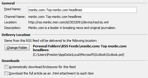 Customizing an RSS feed in Outlook 2007