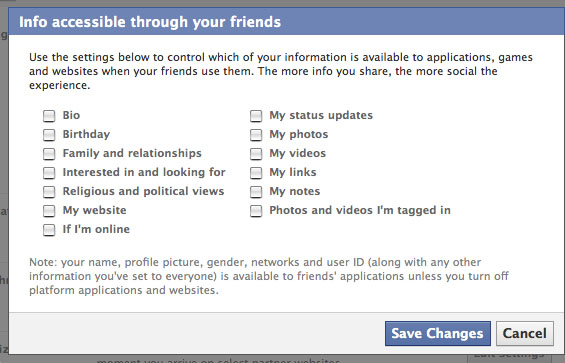 The info accessible through your friends settings