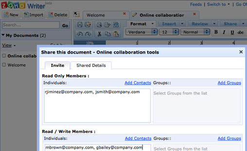 Sharing a document in Zoho Writer
