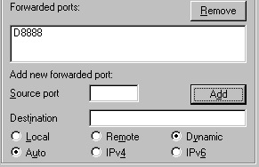 Configuring ports in PuTTY