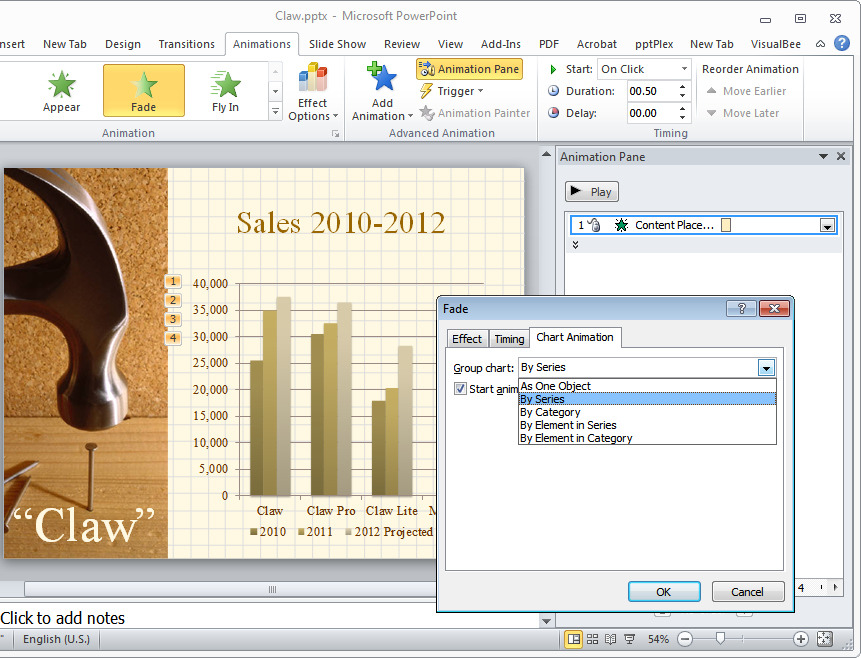 Description: PowerPoint can automatically break up a chart so that it will display in sequence rather than all at once.