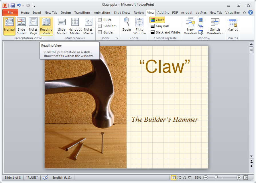 Description: PowerPoint 2010's Reading View offers a handy way to preview a presentation.