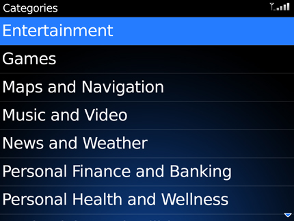 BlackBerry App World Categories Screen