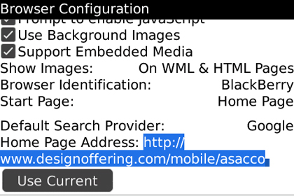 BlackBerry Browser Configuration Options Menu