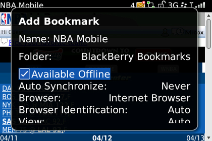 screen shot of BlackBerry