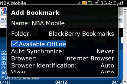 screen shot of BlackBerry