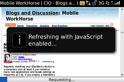 BlackBerry Enable JavaScript Shortcut