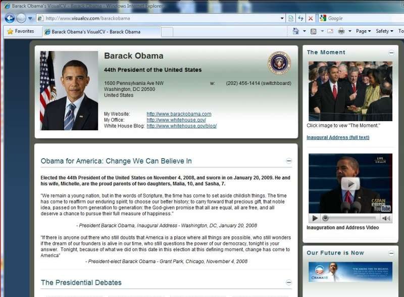 Barack Obama on VisualCV