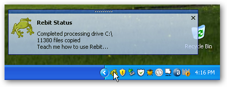 Rebit pop-up message; click for full-size image.