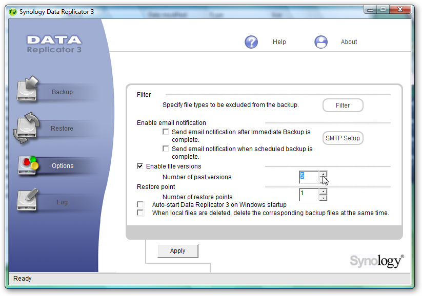 Synology Data Replicator 3 software; click for full-size image.