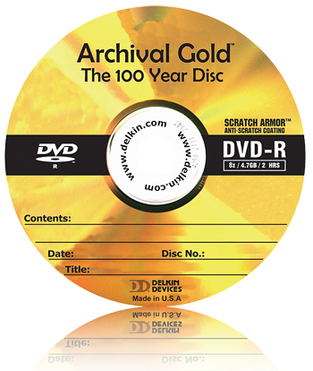 Delkin Archival Gold DVD-R; click for full-size image.