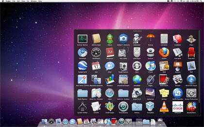 Stacks windows in the Dock can now be scrolled. (Note scroll bar to the right of the icons.)