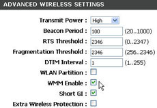 router settings: enabling WMM