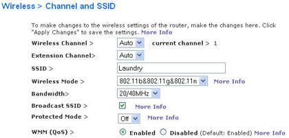 Belkin router settings: channel and SSID