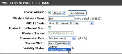 router settings: wireless network
