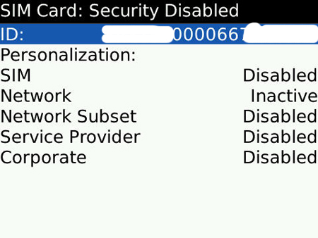 BlackBerry SIM Card Information Screen