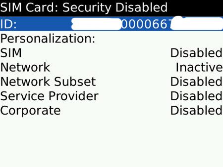 BlackBerry SIM Card Information Screen