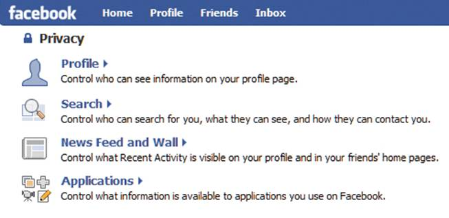 Facebook's Privacy page: Click for full-size image.
