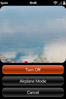 Palm Pre Turn Off/Airplane Mode Screen