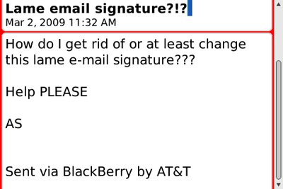 screen shot of BlackBerry E-Mail Signature in a message