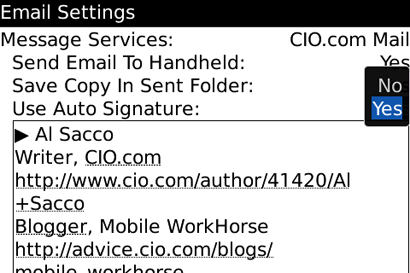 screen shot of On-Device BES E-Mail Settings