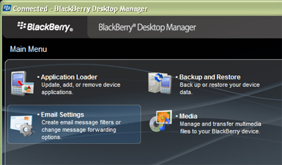 image of BlackBerry Desktop Manager main page