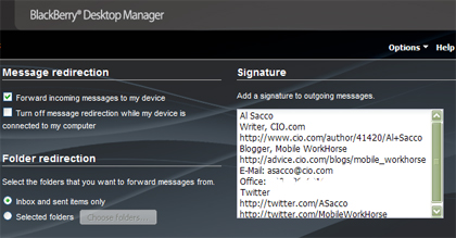 screen shot of BlackBerry Desktop Manager E-Mail Settings page