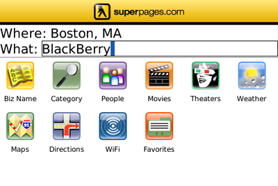 Superpages Mobile for BlackBerry Home