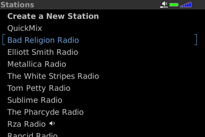 Pandora for BlackBerry Stations Screen