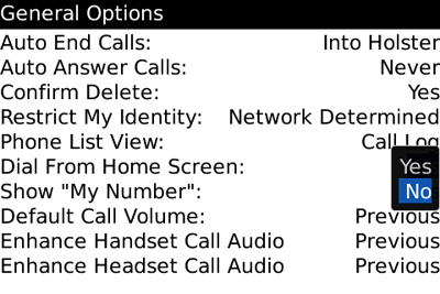BlackBerry Phone General Options