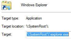 Changing the default Explorer location