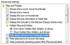 Showing empty drives