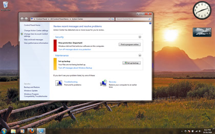 Windows 7's User Account Control is tucked away in the Action Center under Control Panels.