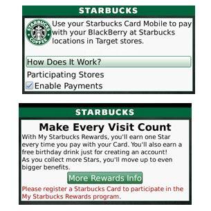 Starbucks Card Mobile App for BlackBerry