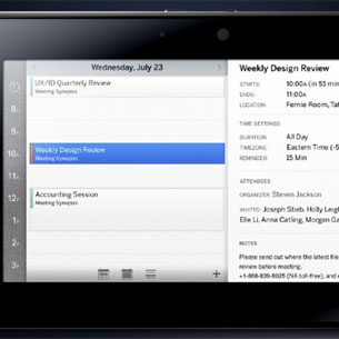 BlackBerry PlayBook Calendar