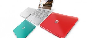 The HP Chromebook comes in white, peach, and turquoise.